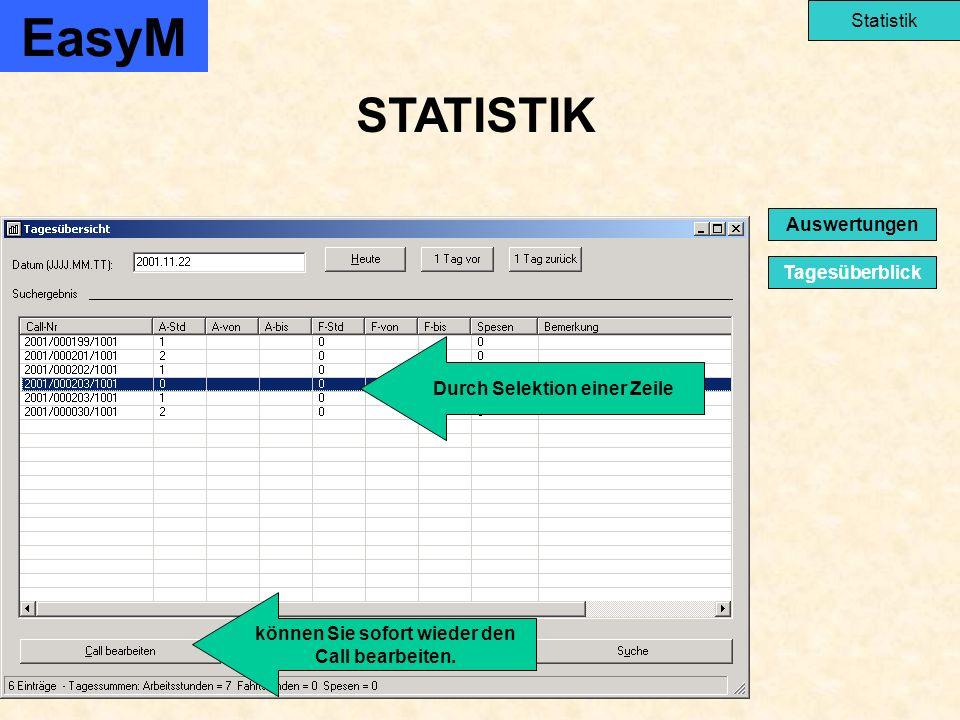 STATISTIK EasyM Statistik Tagesüberblick Auswertungen Durch Selektion einer Zeile können Sie sofort wieder den Call bearbeiten.