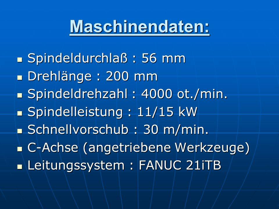 Maschinendaten: Spindeldurchlaß : 56 mm Spindeldurchlaß : 56 mm Drehlänge : 200 mm Drehlänge : 200 mm Spindeldrehzahl : 4000 ot./min. Spindeldrehzahl