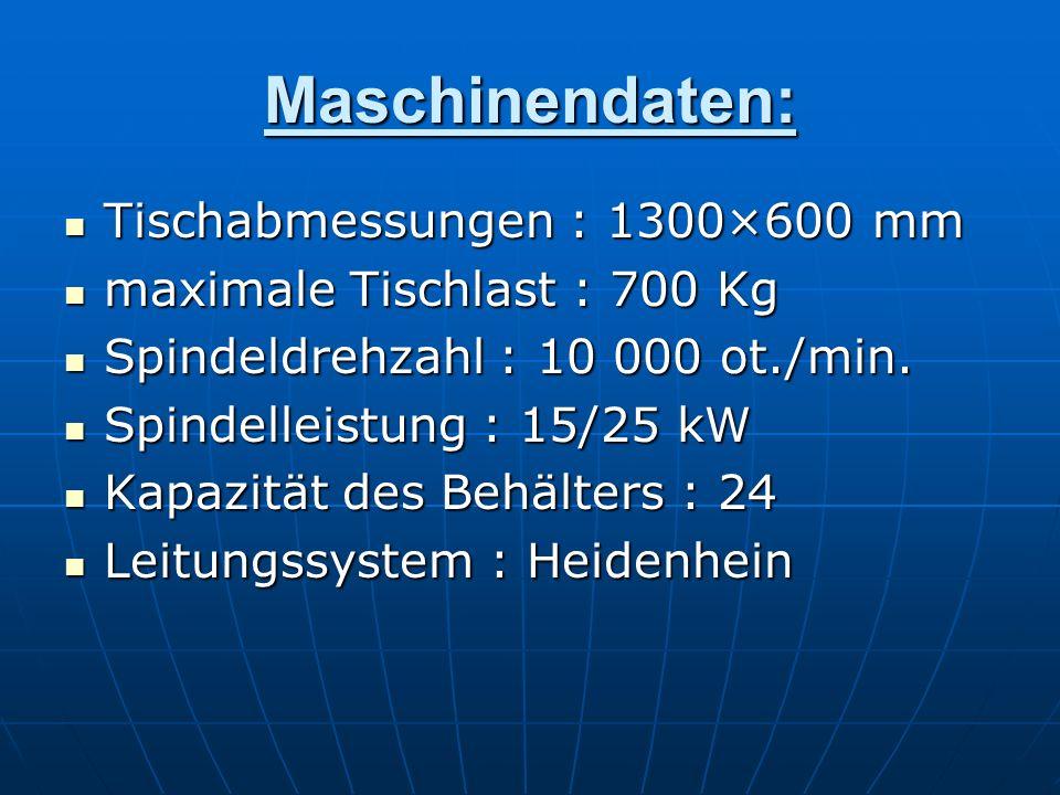 Maschinendaten: Tischabmessungen : 1300×600 mm Tischabmessungen : 1300×600 mm maximale Tischlast : 700 Kg maximale Tischlast : 700 Kg Spindeldrehzahl