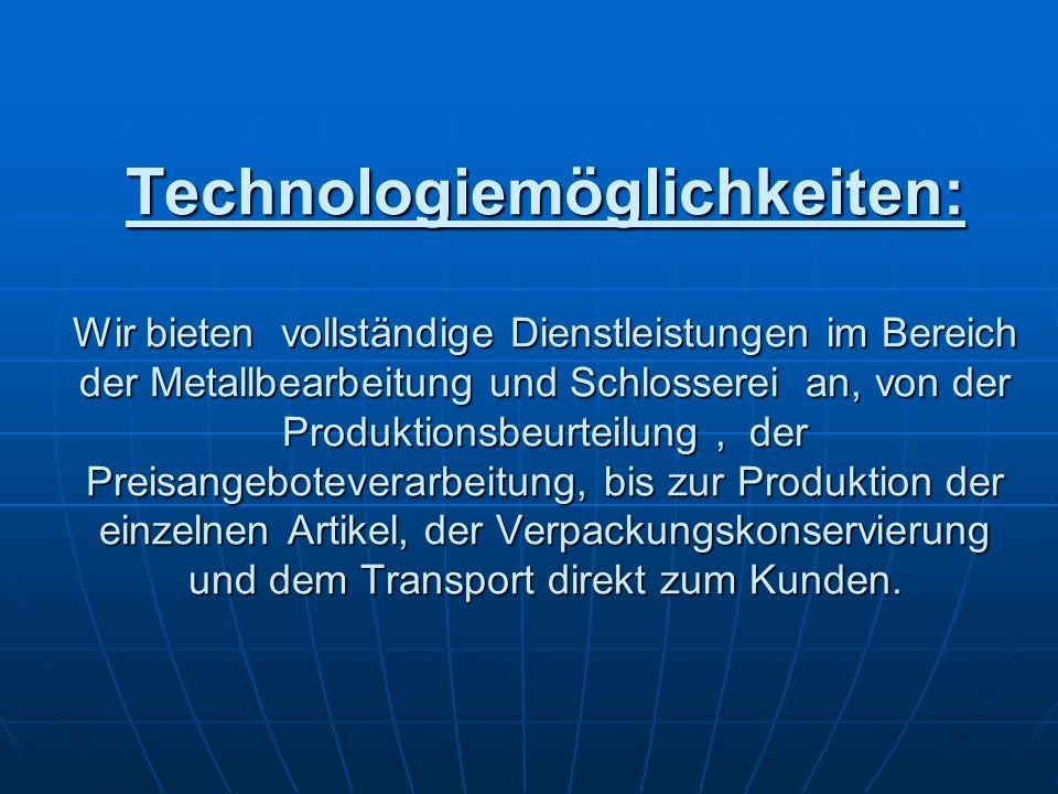 Technologiemöglichkeiten: Wir bieten vollständige Dienstleistungen im Bereich der Metallbearbeitung und Schlosserei an, von der Produktionsbeurteilung