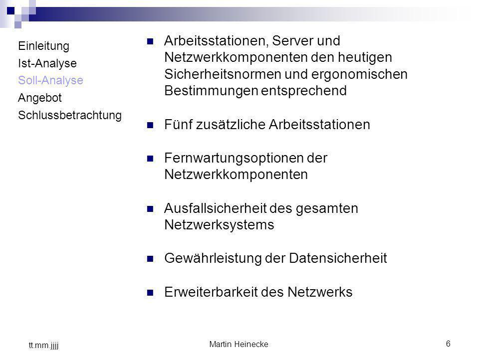 6 Martin Heinecke tt.mm.jjjj Einleitung Ist-Analyse Soll-Analyse Angebot Schlussbetrachtung Arbeitsstationen, Server und Netzwerkkomponenten den heuti