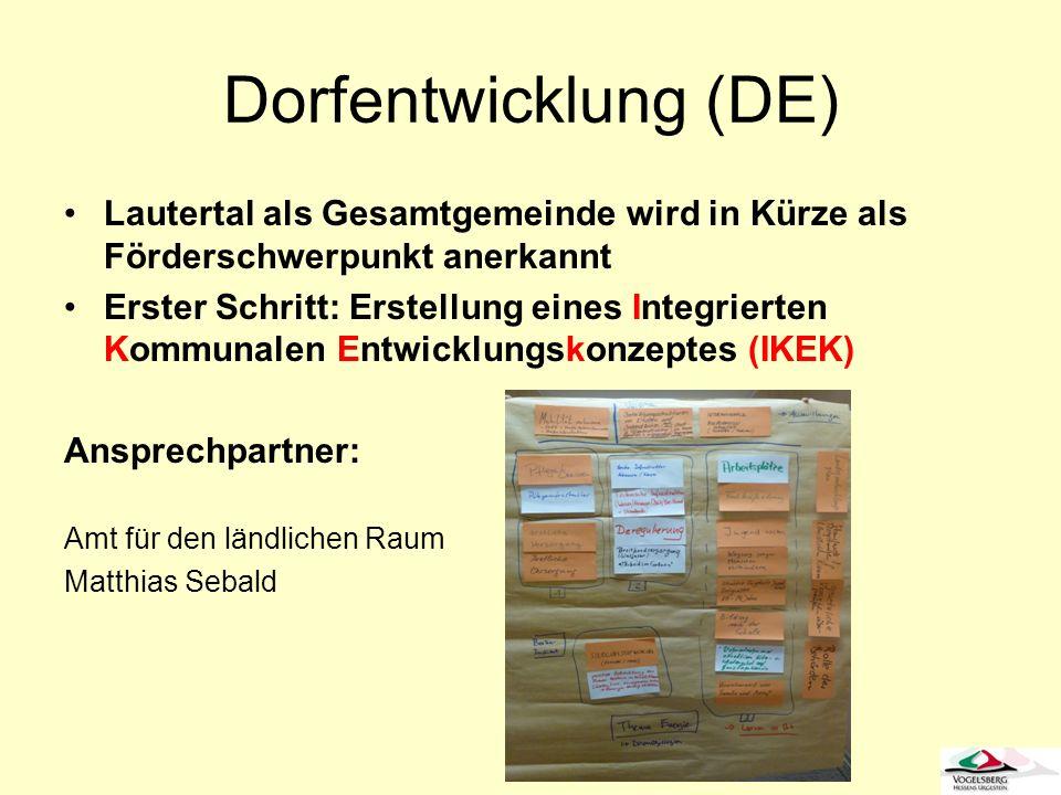 Dorfentwicklung (DE) Lautertal als Gesamtgemeinde wird in Kürze als Förderschwerpunkt anerkannt Erster Schritt: Erstellung eines Integrierten Kommunal