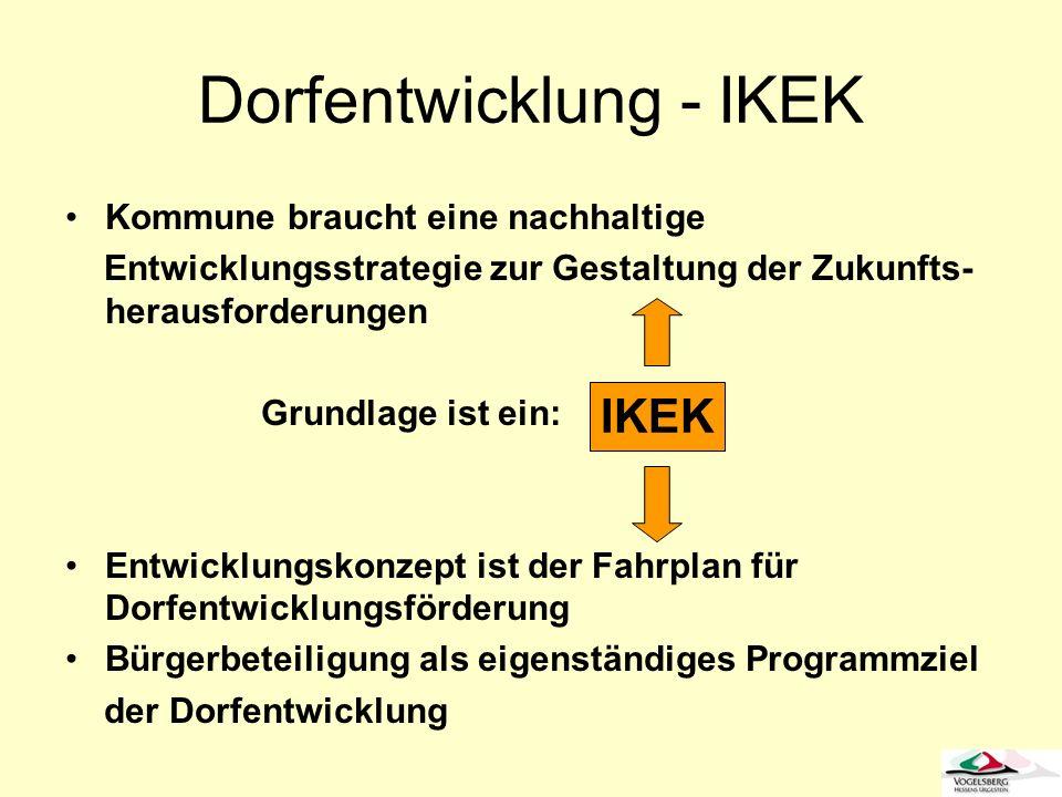Dorfentwicklung - IKEK Kommune braucht eine nachhaltige Entwicklungsstrategie zur Gestaltung der Zukunfts- herausforderungen Grundlage ist ein: Entwic