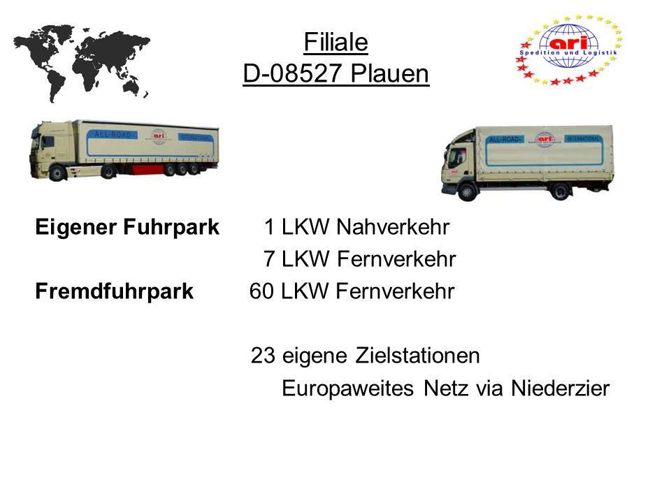 Eigener Fuhrpark 1 LKW Nahverkehr 7 LKW Fernverkehr Fremdfuhrpark 60 LKW Fernverkehr 23 eigene Zielstationen Europaweites Netz via Niederzier Filiale