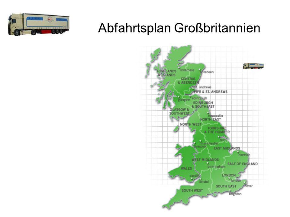 Abfahrtsplan Großbritannien Tägliche Abfahrten Birmingham Bristol London Manchester Newcastle upon Tyne Swansea / Südwales Truro / Cornwall