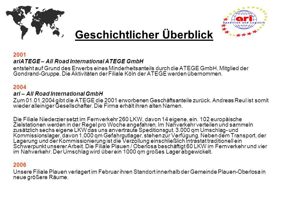 Geschichtlicher Überblick 2001 ariATEGE – All Road International ATEGE GmbH entsteht auf Grund des Erwerbs eines Minderheitsanteils durch die ATEGE Gm