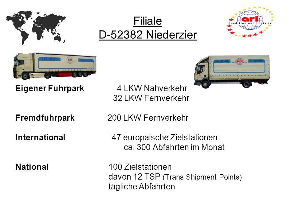 Eigener Fuhrpark 4 LKW Nahverkehr 32 LKW Fernverkehr Fremdfuhrpark 200 LKW Fernverkehr International 47 europäische Zielstationen ca. 300 Abfahrten im