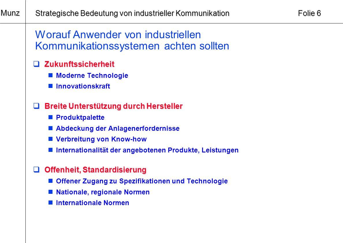 20 Munz Strategische Bedeutung von industrieller Kommunikation Folie 5 Worauf Anwender von industriellen Kommunikationssystemen achten sollten Technik