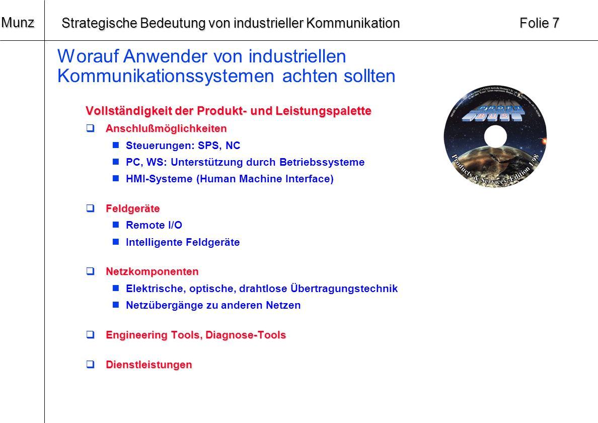 20 Munz Strategische Bedeutung von industrieller Kommunikation Folie 6 Worauf Anwender von industriellen Kommunikationssystemen achten sollten Zukunft