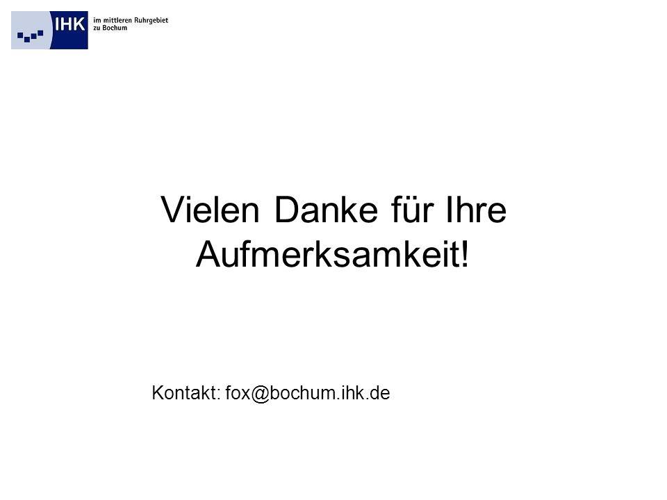 Vielen Danke für Ihre Aufmerksamkeit! Kontakt: fox@bochum.ihk.de