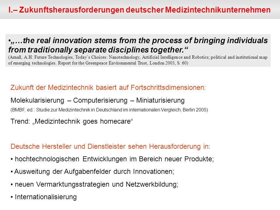 I.– Zukunftsherausforderungen deutscher Medizintechnikunternehmen Zukunft der Medizintechnik basiert auf Fortschrittsdimensionen: Molekularisierung –