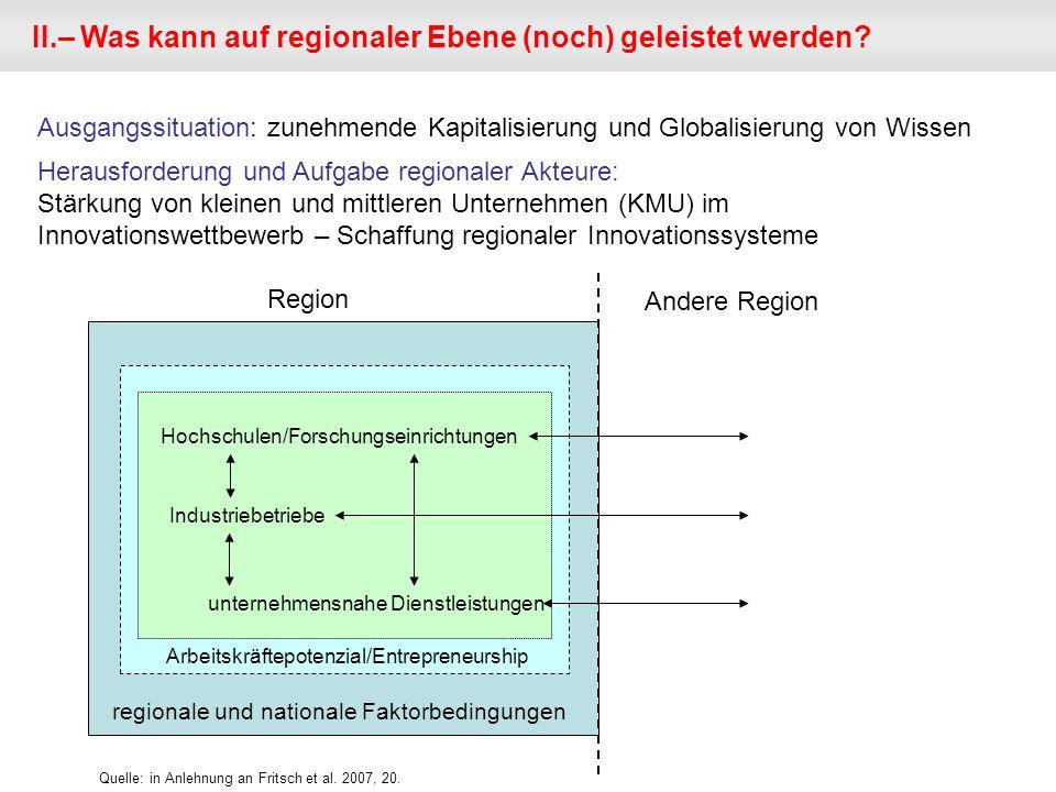 II.– Was kann auf regionaler Ebene (noch) geleistet werden? Ausgangssituation: zunehmende Kapitalisierung und Globalisierung von Wissen Herausforderun