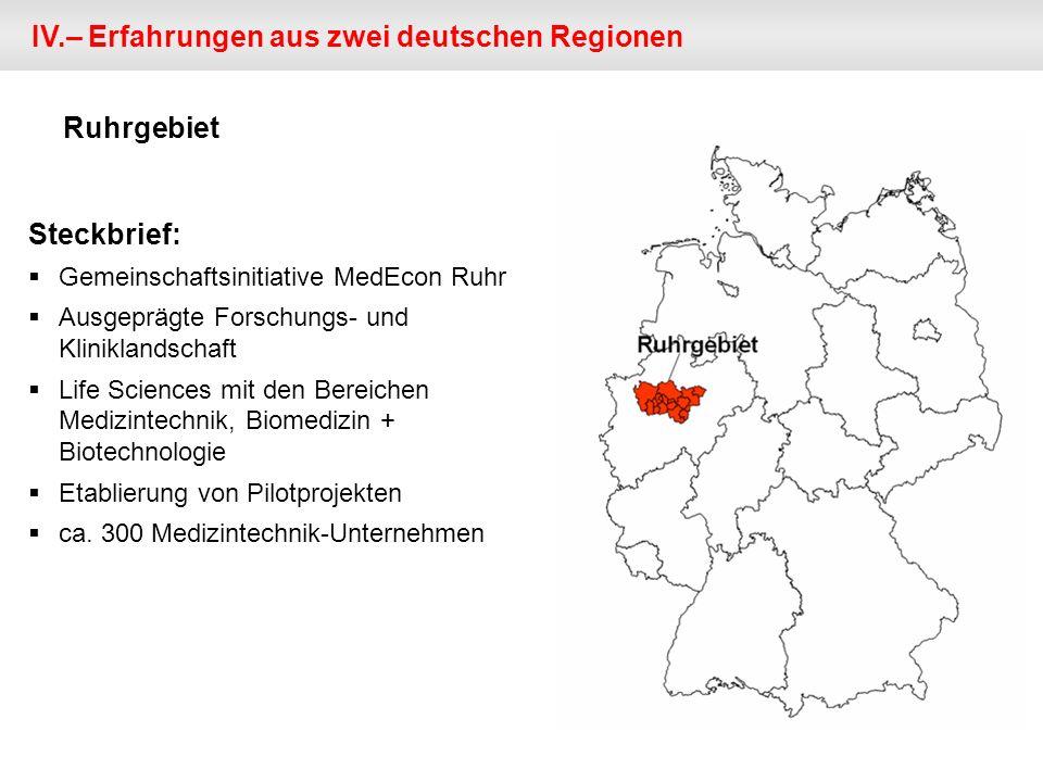 IV.– Erfahrungen aus zwei deutschen Regionen Steckbrief: Gemeinschaftsinitiative MedEcon Ruhr Ausgeprägte Forschungs- und Kliniklandschaft Life Sciences mit den Bereichen Medizintechnik, Biomedizin + Biotechnologie Etablierung von Pilotprojekten ca.