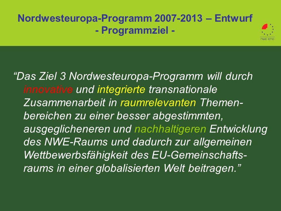 Das Ziel 3 Nordwesteuropa-Programm will durch innovative und integrierte transnationale Zusammenarbeit in raumrelevanten Themen- bereichen zu einer be
