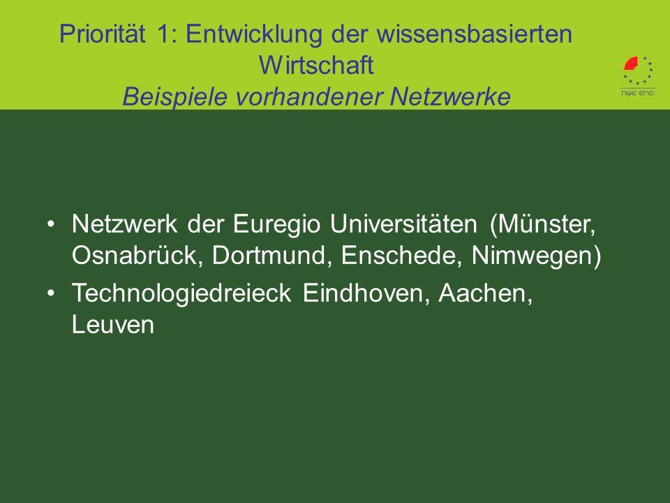 Netzwerk der Euregio Universitäten (Münster, Osnabrück, Dortmund, Enschede, Nimwegen) Technologiedreieck Eindhoven, Aachen, Leuven Priorität 1: Entwic