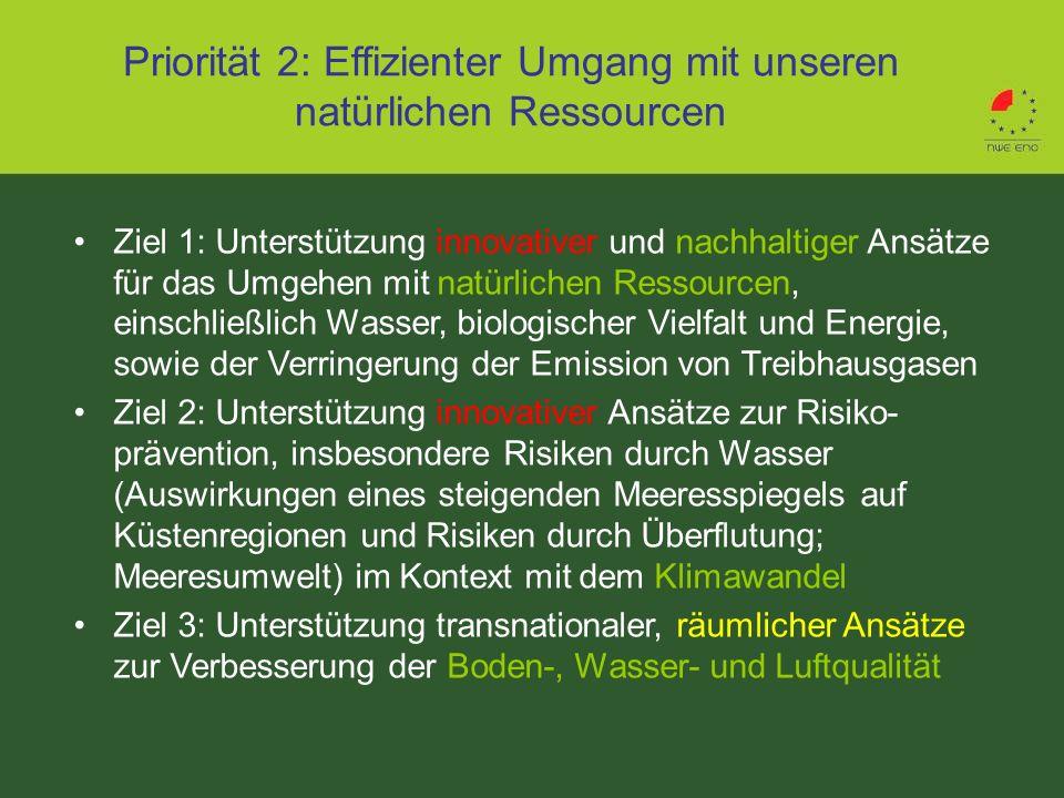 Priorität 2: Effizienter Umgang mit unseren natürlichen Ressourcen Ziel 1: Unterstützung innovativer und nachhaltiger Ansätze für das Umgehen mit natü