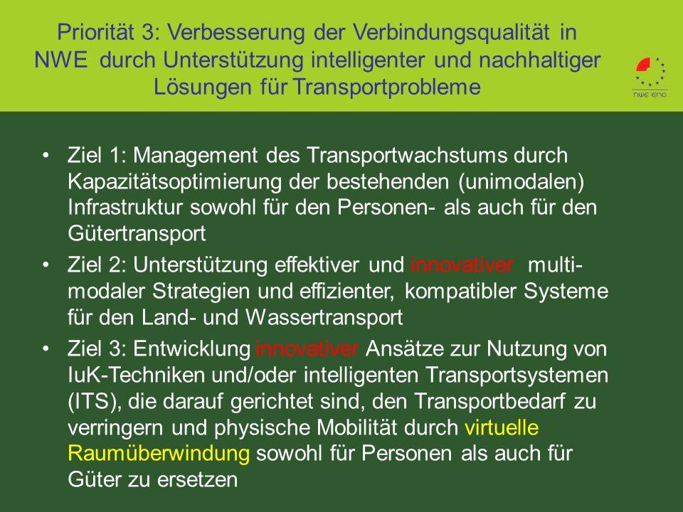 Priorität 3: Verbesserung der Verbindungsqualität in NWE durch Unterstützung intelligenter und nachhaltiger Lösungen für Transportprobleme Ziel 1: Man