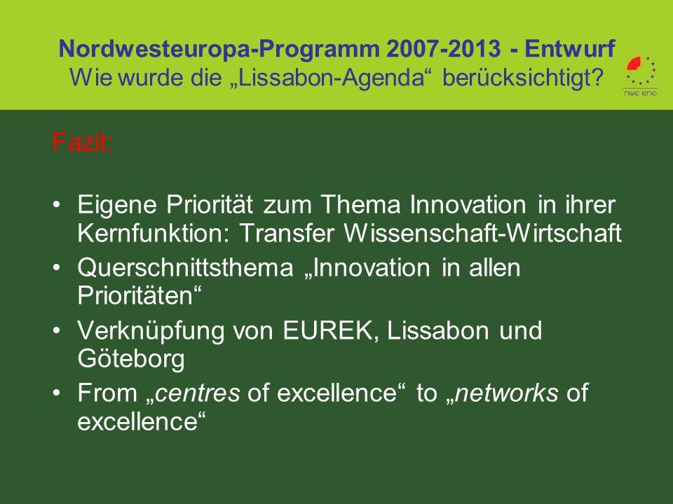 Fazit: Eigene Priorität zum Thema Innovation in ihrer Kernfunktion: Transfer Wissenschaft-Wirtschaft Querschnittsthema Innovation in allen Prioritäten