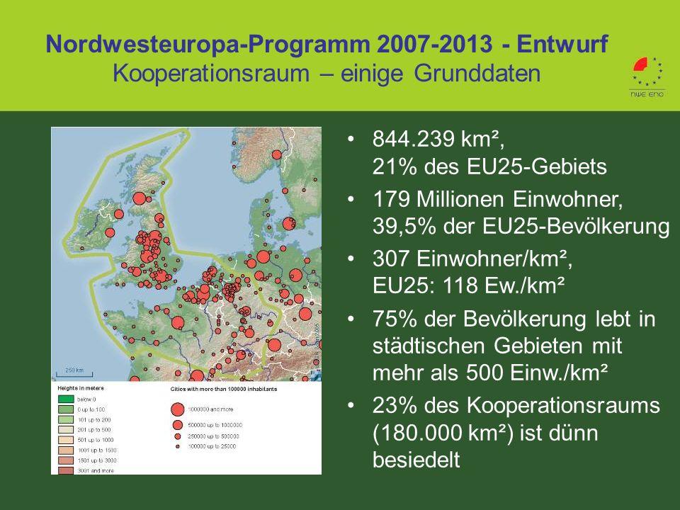 Nordwesteuropa-Programm 2007-2013 - Entwurf Kooperationsraum – einige Grunddaten 844.239 km², 21% des EU25-Gebiets 179 Millionen Einwohner, 39,5% der