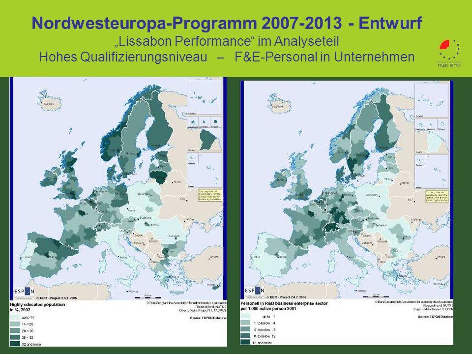 Nordwesteuropa-Programm 2007-2013 - Entwurf Lissabon Performance im Analyseteil Hohes Qualifizierungsniveau – F&E-Personal in Unternehmen