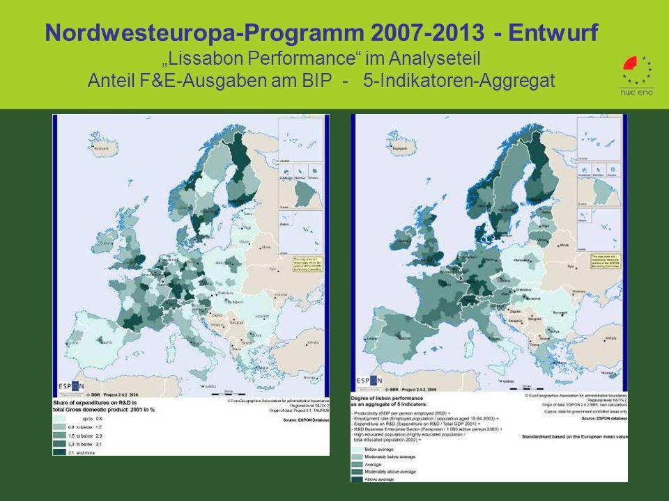 Nordwesteuropa-Programm 2007-2013 - Entwurf Lissabon Performance im Analyseteil Anteil F&E-Ausgaben am BIP - 5-Indikatoren-Aggregat