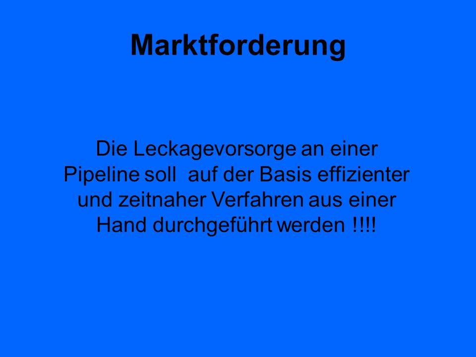 Marktforderung Die Leckagevorsorge an einer Pipeline soll auf der Basis effizienter und zeitnaher Verfahren aus einer Hand durchgeführt werden !!!!