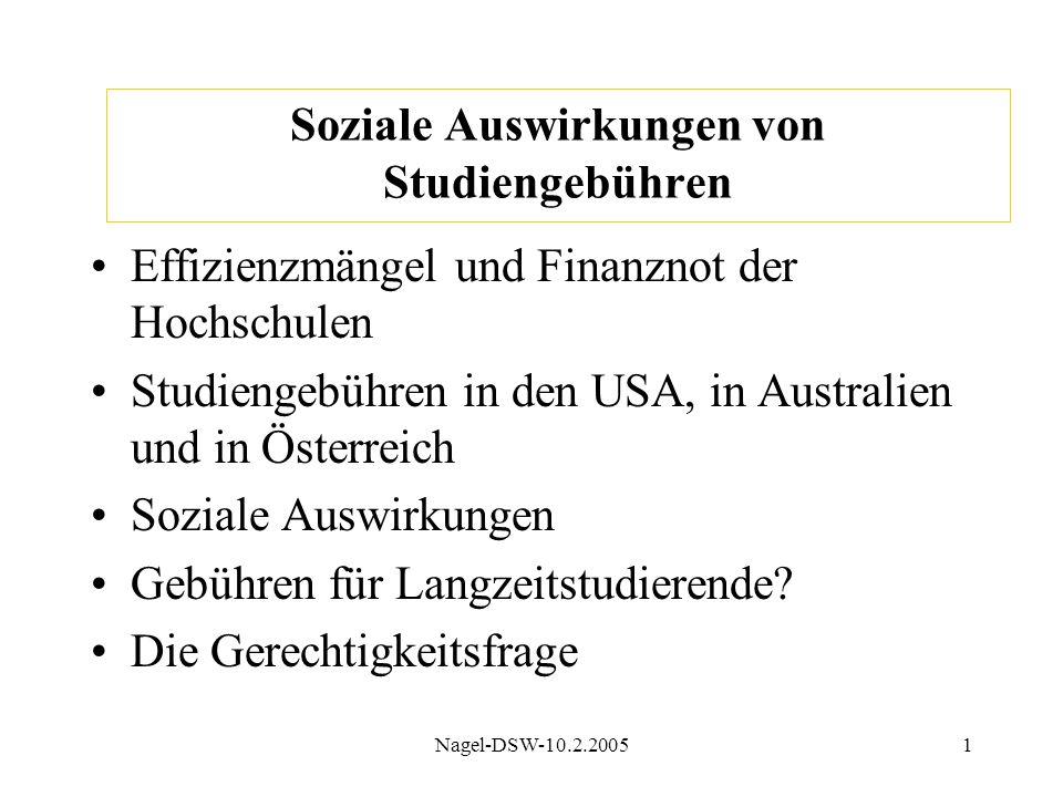 Nagel-DSW-10.2.20051 Soziale Auswirkungen von Studiengebühren Effizienzmängel und Finanznot der Hochschulen Studiengebühren in den USA, in Australien und in Österreich Soziale Auswirkungen Gebühren für Langzeitstudierende.