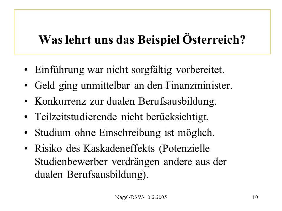 Nagel-DSW-10.2.200510 Was lehrt uns das Beispiel Österreich? Einführung war nicht sorgfältig vorbereitet. Geld ging unmittelbar an den Finanzminister.