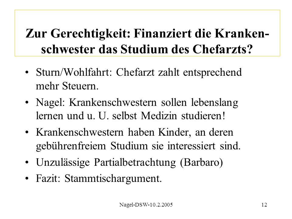 Nagel-DSW-10.2.200512 Zur Gerechtigkeit: Finanziert die Kranken- schwester das Studium des Chefarzts? Sturn/Wohlfahrt: Chefarzt zahlt entsprechend meh