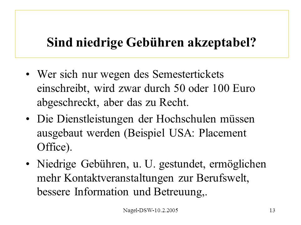 Nagel-DSW-10.2.200513 Sind niedrige Gebühren akzeptabel? Wer sich nur wegen des Semestertickets einschreibt, wird zwar durch 50 oder 100 Euro abgeschr