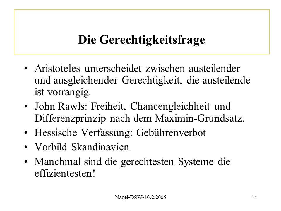 Nagel-DSW-10.2.200514 Die Gerechtigkeitsfrage Aristoteles unterscheidet zwischen austeilender und ausgleichender Gerechtigkeit, die austeilende ist vorrangig.