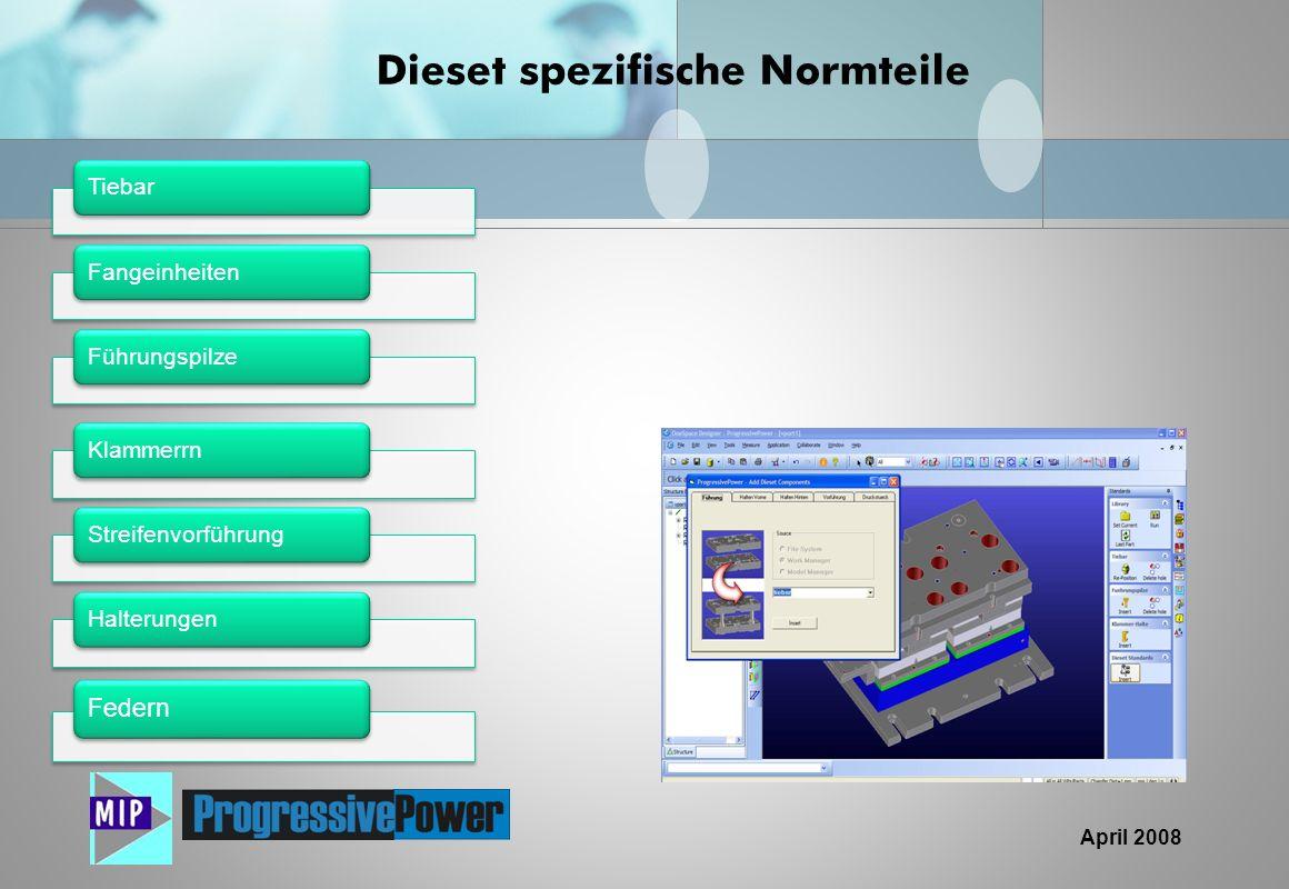 April 2008 Dieset spezifische Normteile TiebarFangeinheitenFührungspilze KlammerrnStreifenvorführungHalterungen Federn
