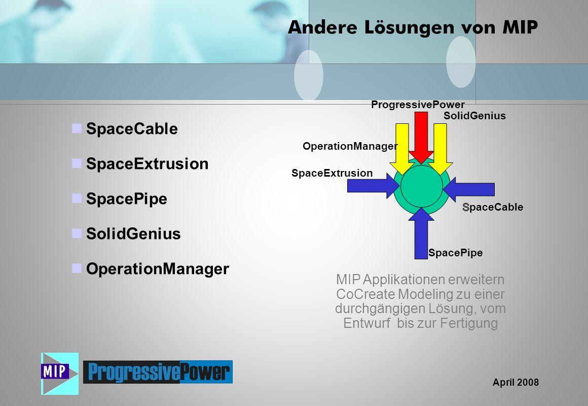 April 2008 Andere Lösungen von MIP SpaceCable SpaceExtrusion SpacePipe SolidGenius OperationManager MIP Applikationen erweitern CoCreate Modeling zu e