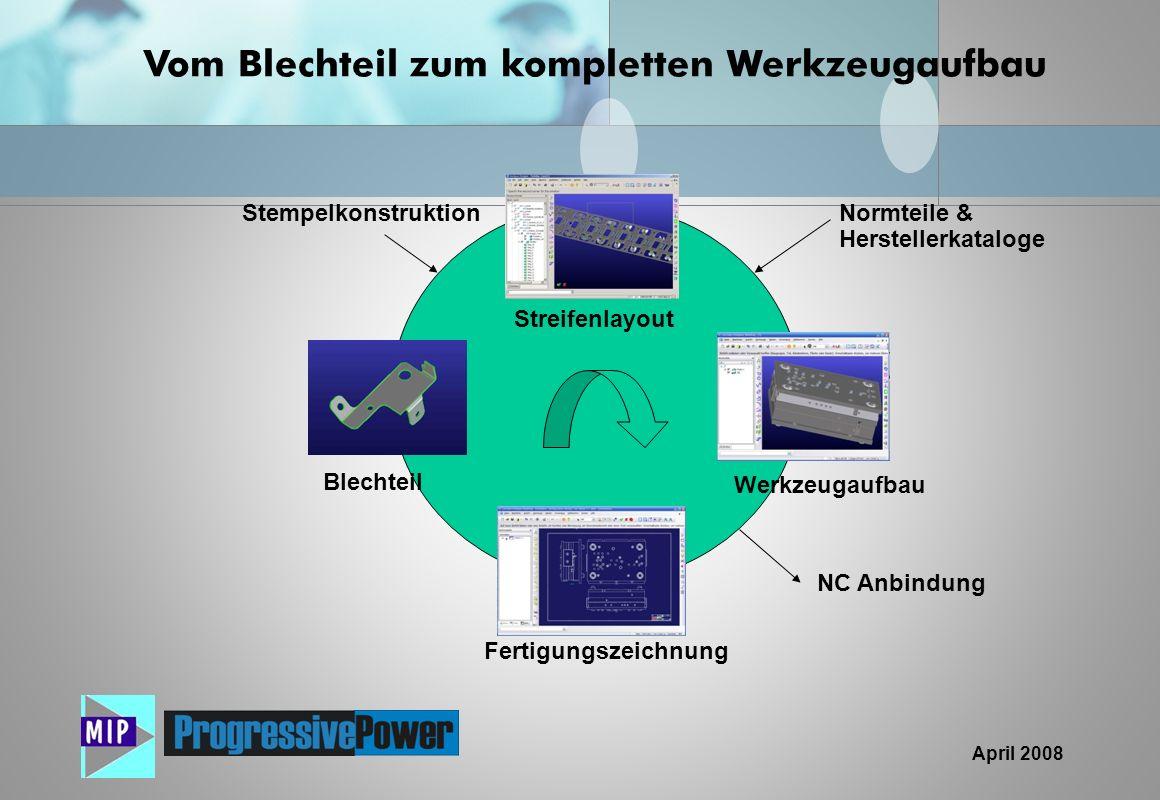 April 2008 Vom Blechteil zum kompletten Werkzeugaufbau Blechteil Streifenlayout Fertigungszeichnung Werkzeugaufbau NC Anbindung Normteile & Hersteller