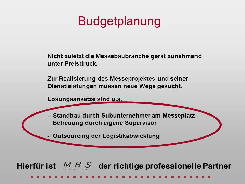 Budgetplanung Nicht zuletzt die Messebaubranche gerät zunehmend unter Preisdruck. Zur Realisierung des Messeprojektes und seiner Dienstleistungen müss