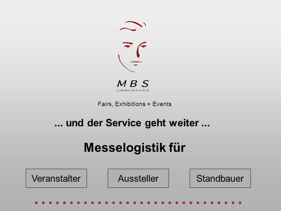 Veranstalter Fairs, Exhibitions + Events... und der Service geht weiter... Messelogistik für