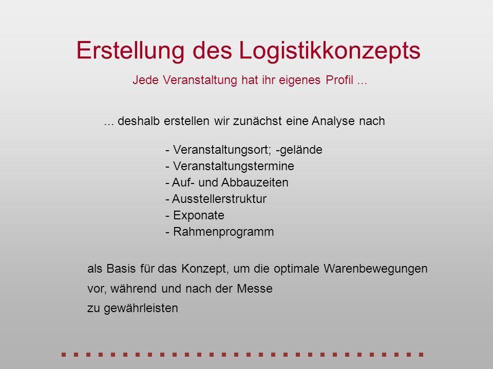 Erstellung des Logistikkonzepts Jede Veranstaltung hat ihr eigenes Profil... - Ausstellerstruktur - Veranstaltungsort; -gelände - Exponate - Veranstal