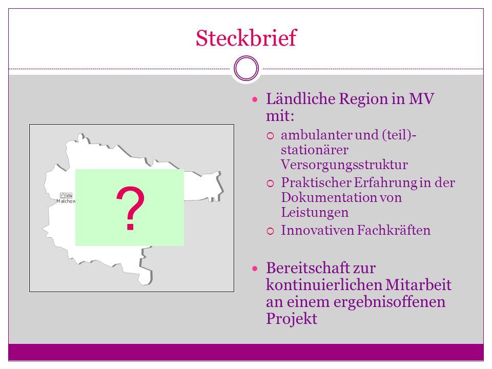 Steckbrief Ländliche Region in MV mit: ambulanter und (teil)- stationärer Versorgungsstruktur Praktischer Erfahrung in der Dokumentation von Leistunge