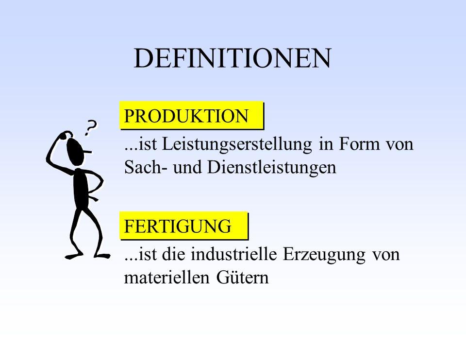 DEFINITIONEN PRODUKTION FERTIGUNG...ist Leistungserstellung in Form von Sach- und Dienstleistungen...ist die industrielle Erzeugung von materiellen Gü