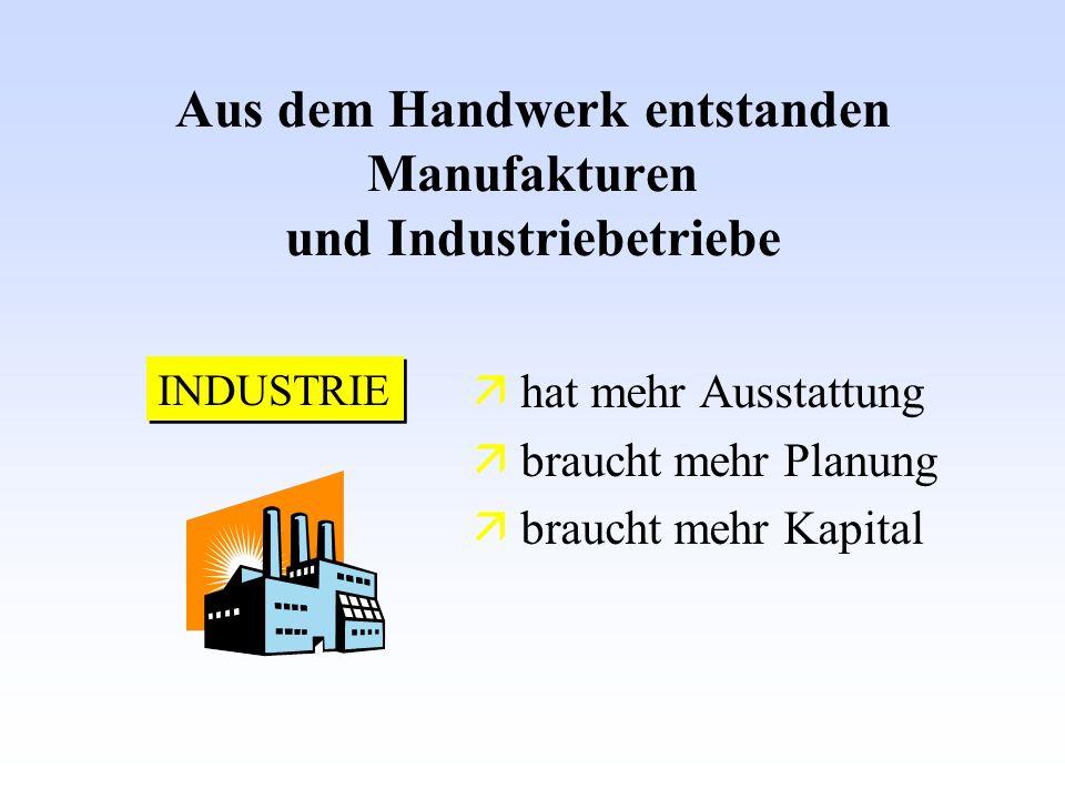 hat mehr Ausstattung braucht mehr Planung braucht mehr Kapital Aus dem Handwerk entstanden Manufakturen und Industriebetriebe INDUSTRIE