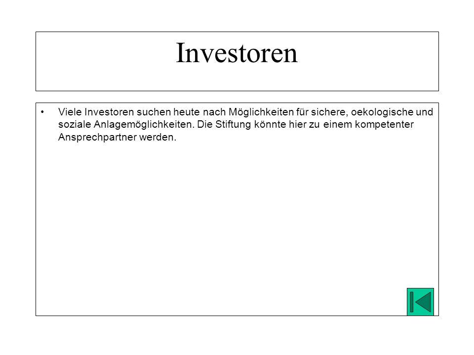 Viele Investoren suchen heute nach Möglichkeiten für sichere, oekologische und soziale Anlagemöglichkeiten.