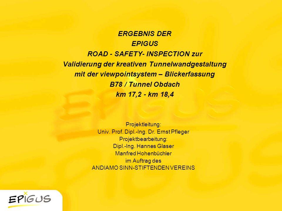 ERGEBNIS DER EPIGUS ROAD - SAFETY- INSPECTION zur Validierung der kreativen Tunnelwandgestaltung mit der viewpointsystem – Blickerfassung B78 / Tunnel
