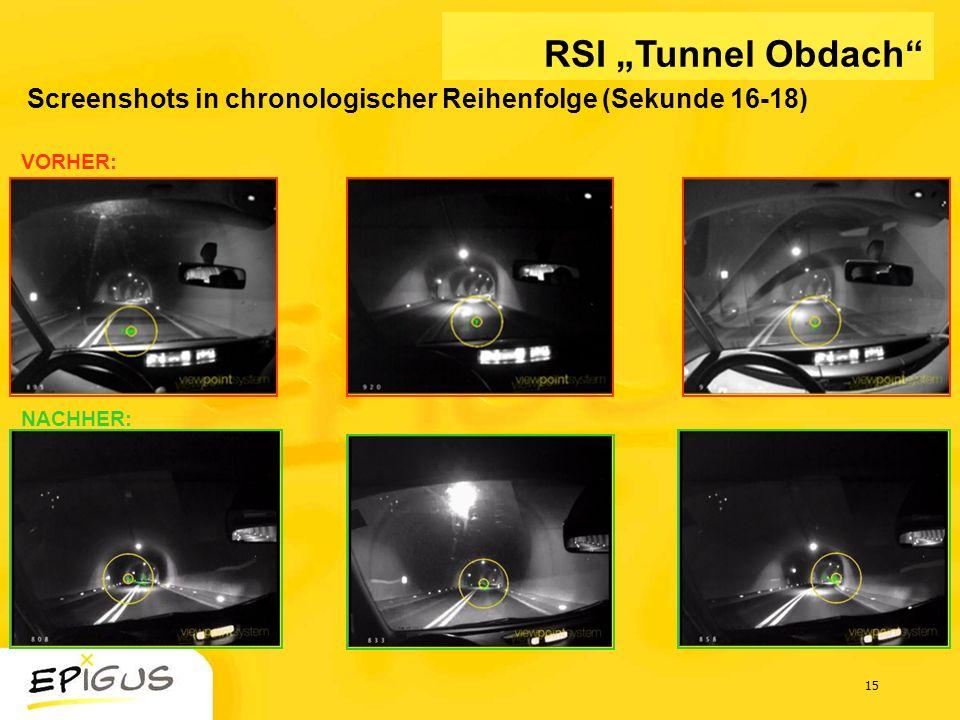 15 Screenshots in chronologischer Reihenfolge (Sekunde 16-18) VORHER: NACHHER: RSI Tunnel Obdach