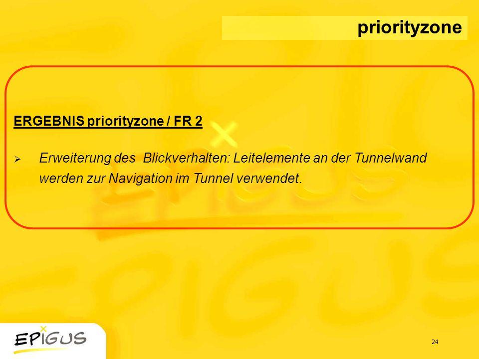 24 ERGEBNIS priorityzone / FR 2 Erweiterung des Blickverhalten: Leitelemente an der Tunnelwand werden zur Navigation im Tunnel verwendet. priorityzone