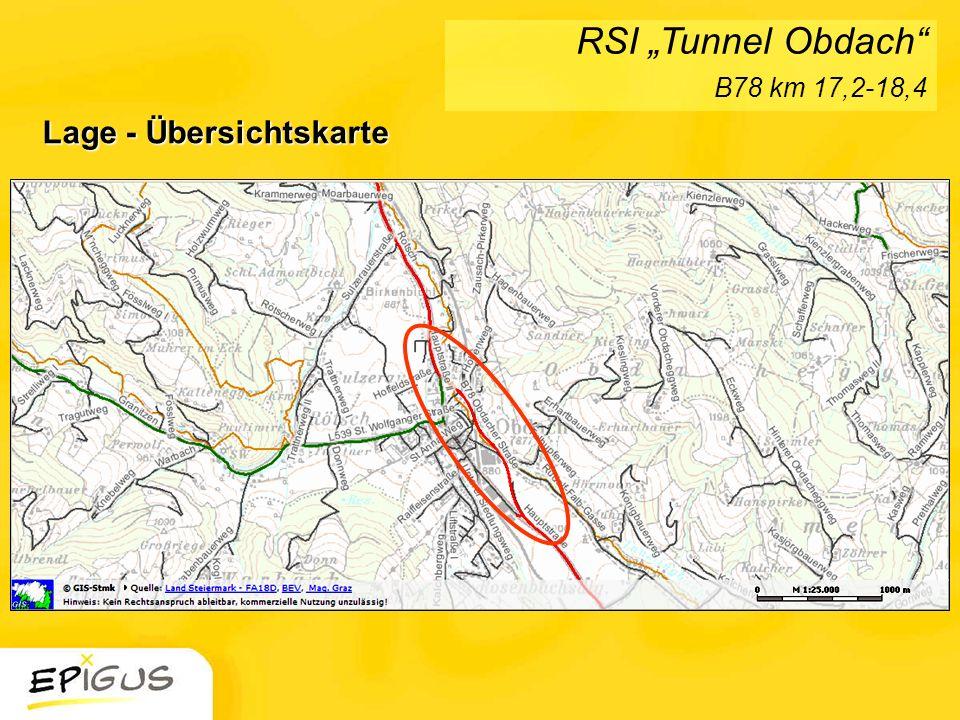 Lage - Übersichtskarte RSI Tunnel Obdach B78 km 17,2-18,4