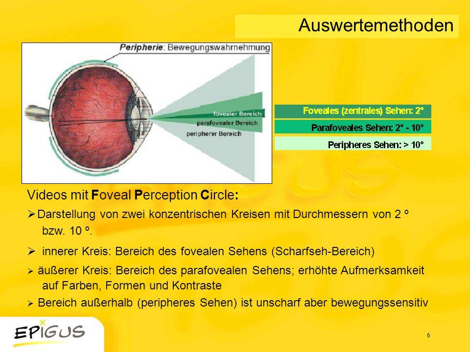 6 Auswertemethoden Videos mit Foveal Perception Circle: Darstellung von zwei konzentrischen Kreisen mit Durchmessern von 2 º bzw. 10 º. innerer Kreis: