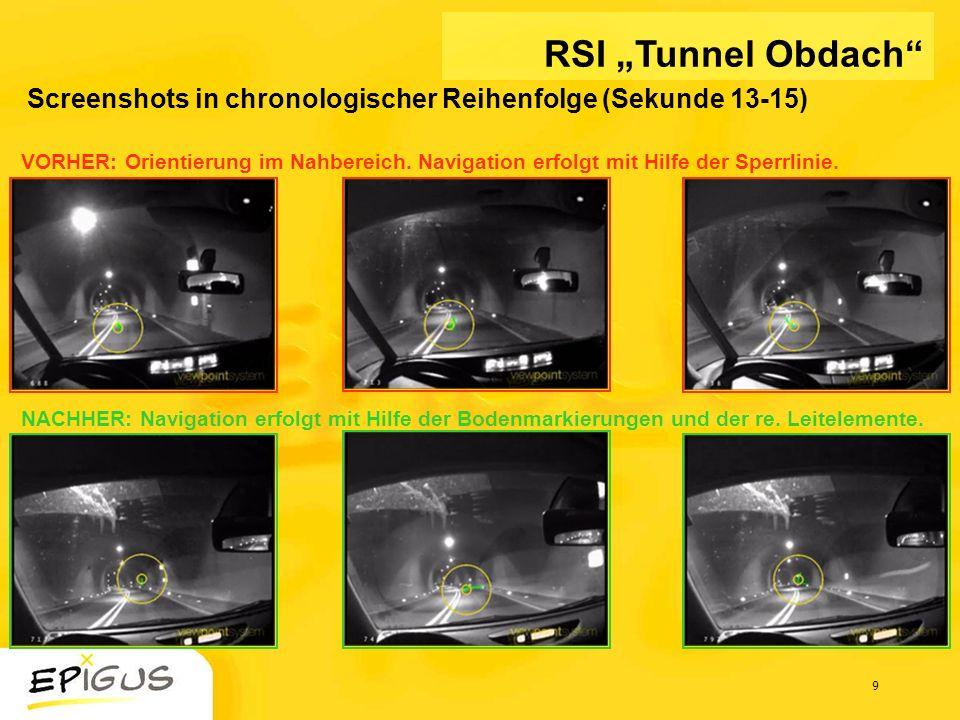 9 Screenshots in chronologischer Reihenfolge (Sekunde 13-15) RSI Tunnel Obdach VORHER: Orientierung im Nahbereich. Navigation erfolgt mit Hilfe der Sp