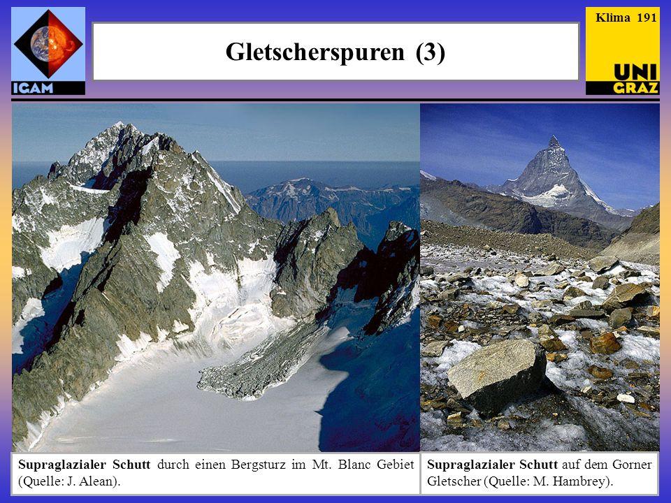 Gletscherspuren (3) Klima 191 Supraglazialer Schutt durch einen Bergsturz im Mt. Blanc Gebiet (Quelle: J. Alean). Supraglazialer Schutt auf dem Gorner