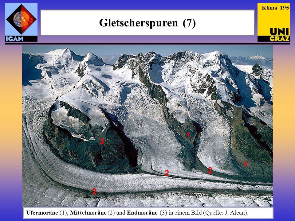 Gletscherspuren (7) Klima 195 Ufermoräne (1), Mittelmoräne (2) und Endmoräne (3) in einem Bild (Quelle: J. Alean).