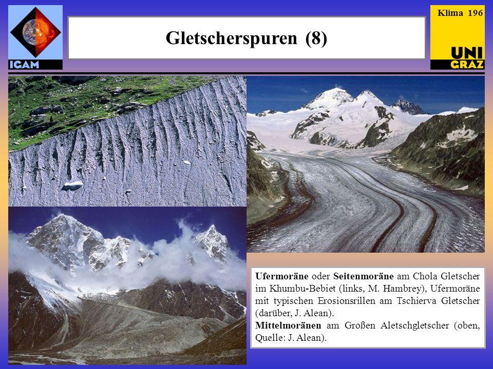 Gletscherspuren (8) Klima 196 Ufermoräne oder Seitenmoräne am Chola Gletscher im Khumbu-Bebiet (links, M. Hambrey), Ufermoräne mit typischen Erosionsr